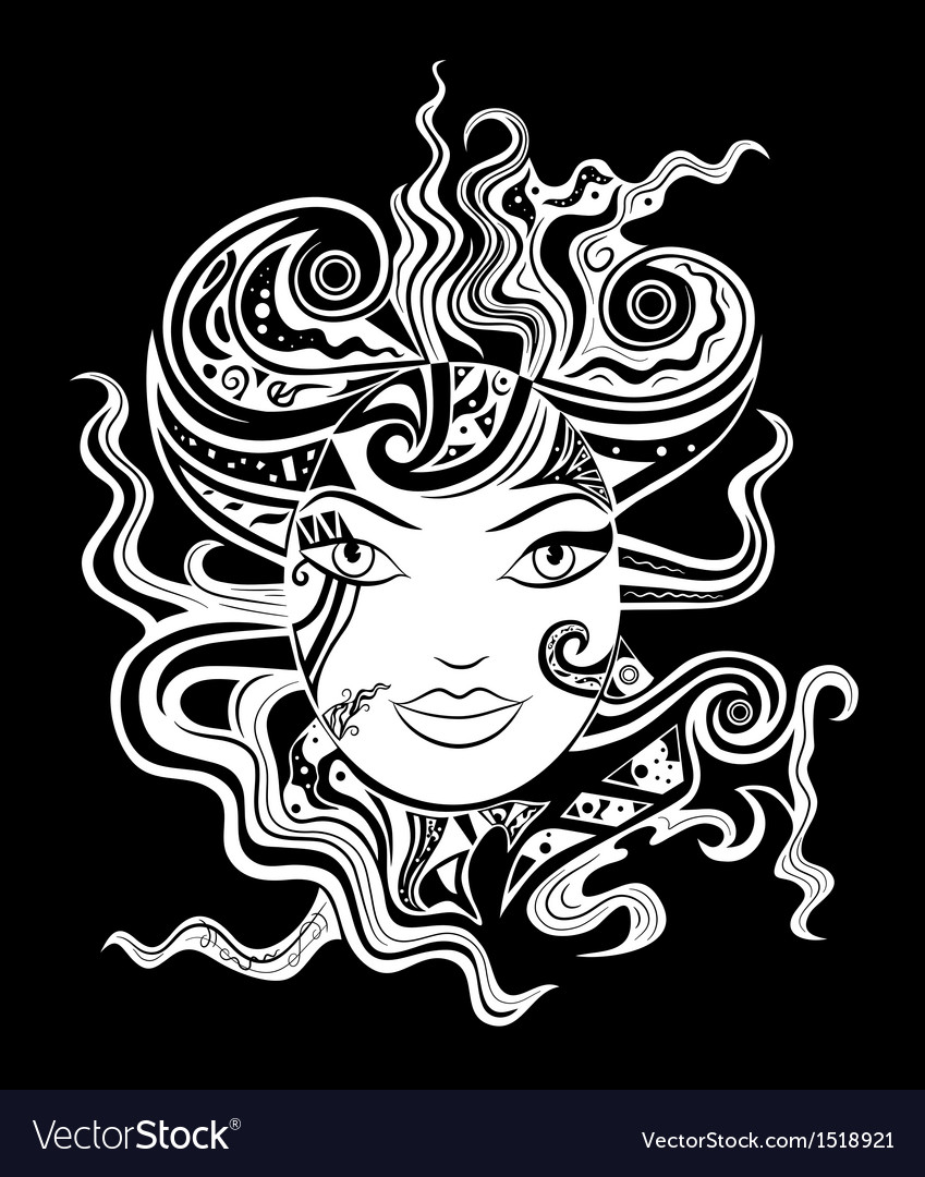 Black and white woman face vector | Price: 1 Credit (USD $1)