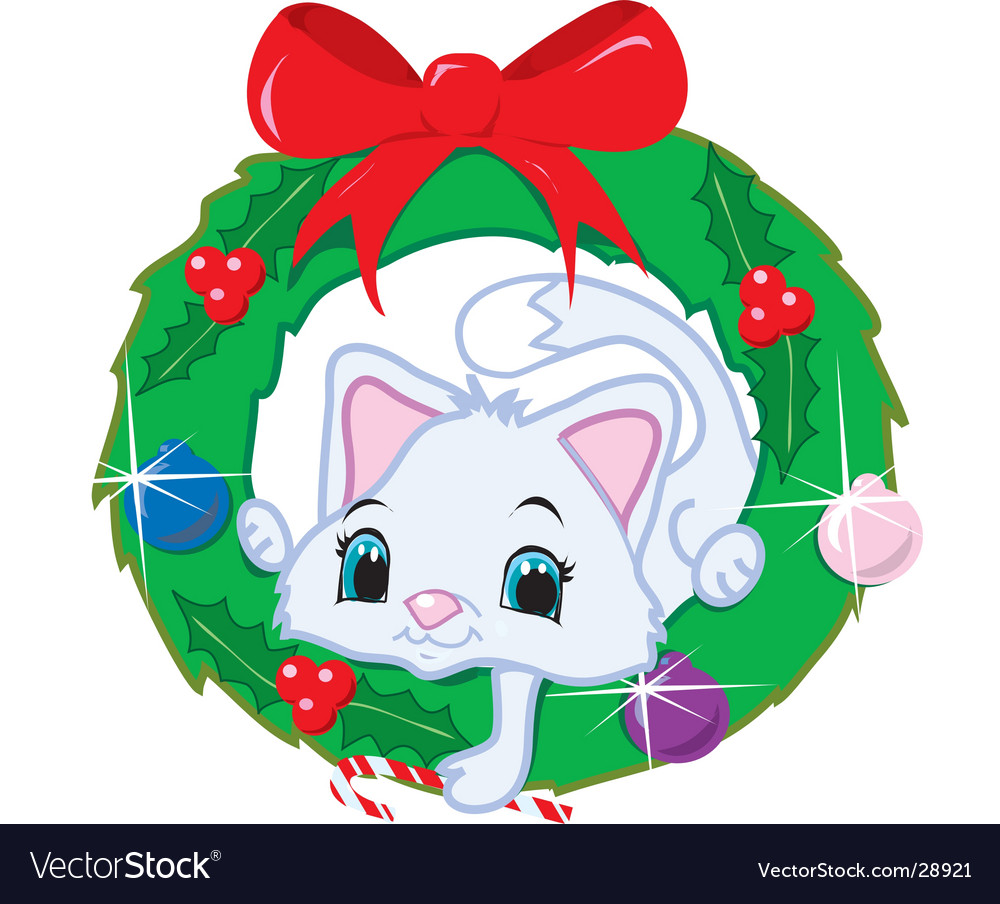 Cat in a christmas wreath vector | Price:  Credit (USD $)