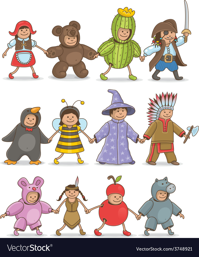 Christmas costumes kids vector   Price: 1 Credit (USD $1)