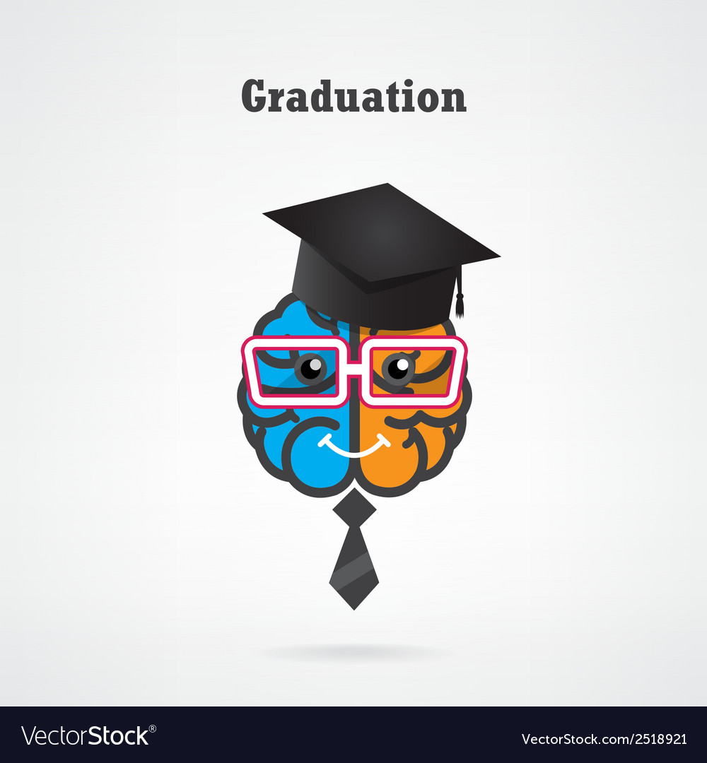 Creative brain graduation concept vector | Price: 1 Credit (USD $1)