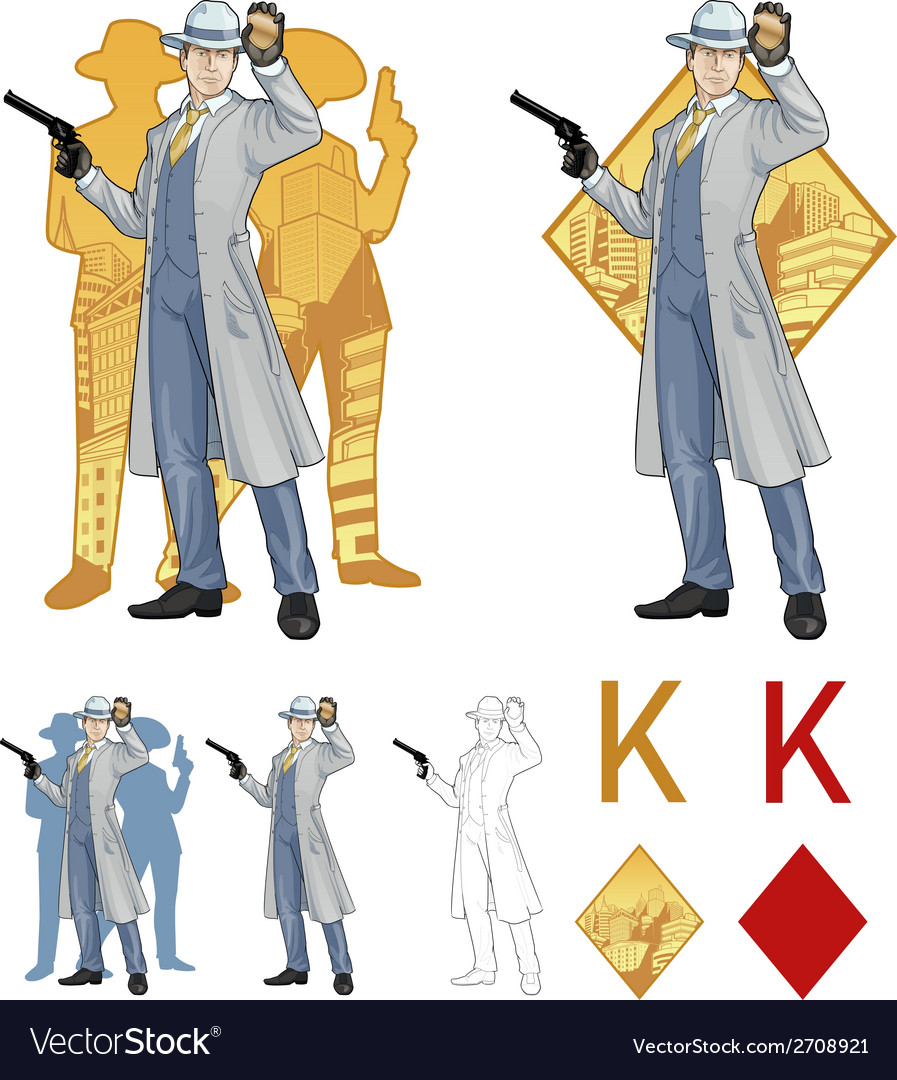 King of diamonds caucasian police chief and people vector | Price: 1 Credit (USD $1)
