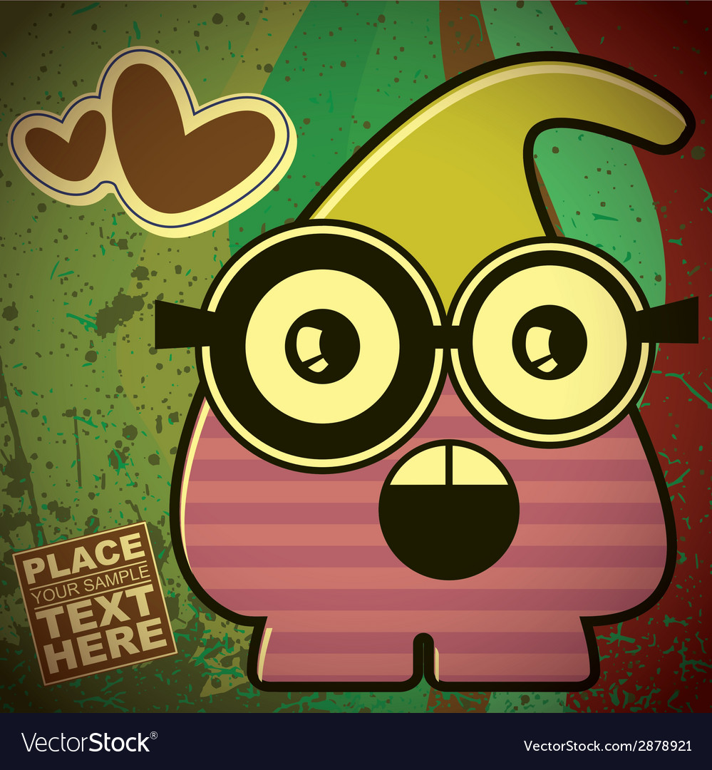 Monster on retro background vector | Price: 1 Credit (USD $1)