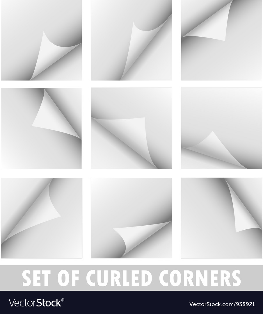Set of curled corners vector | Price: 1 Credit (USD $1)