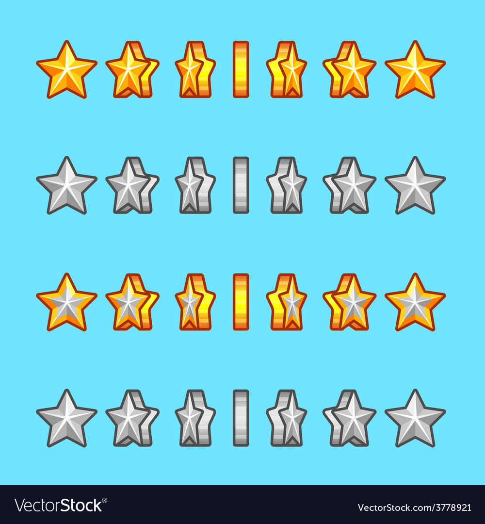 Star gold silver rotation set sprite game vector | Price: 1 Credit (USD $1)