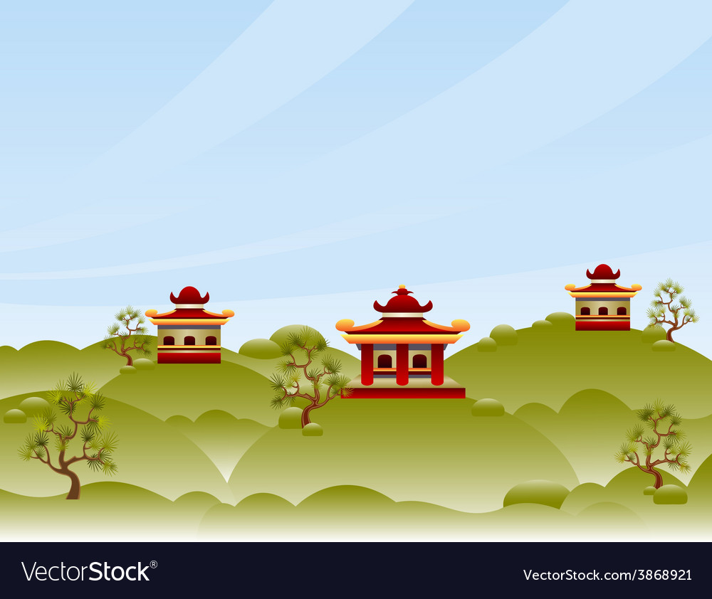 View with pagodas vector | Price: 1 Credit (USD $1)