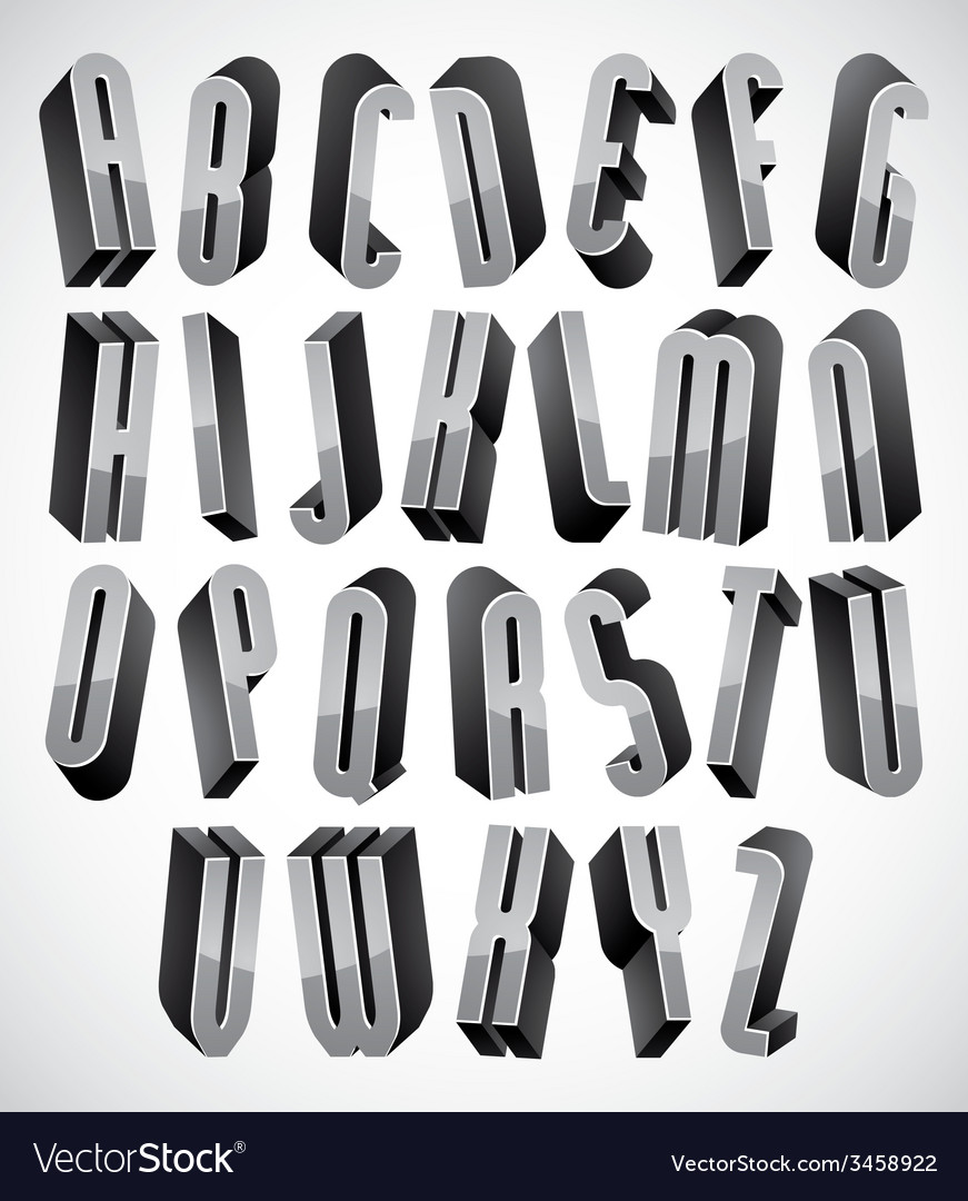 3d font thin and tall dimensional letters set made vector | Price: 1 Credit (USD $1)