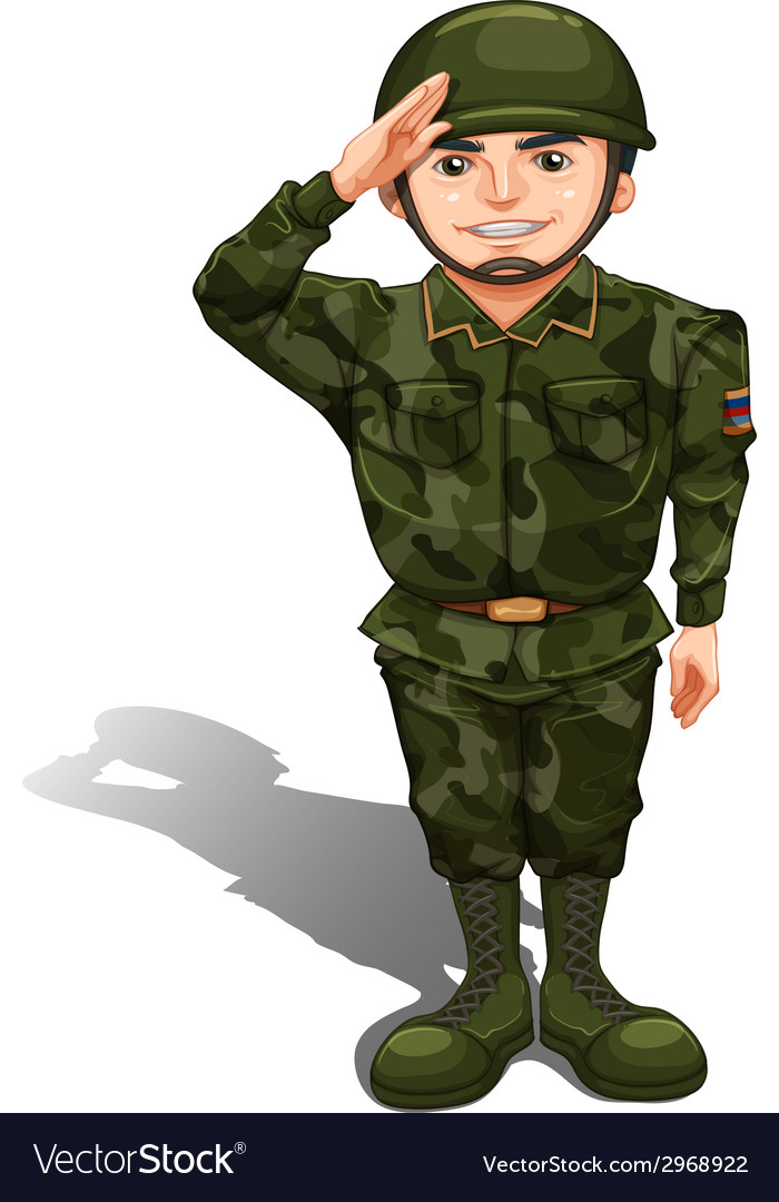 A smiling soldier doing a hand salute vector | Price: 1 Credit (USD $1)
