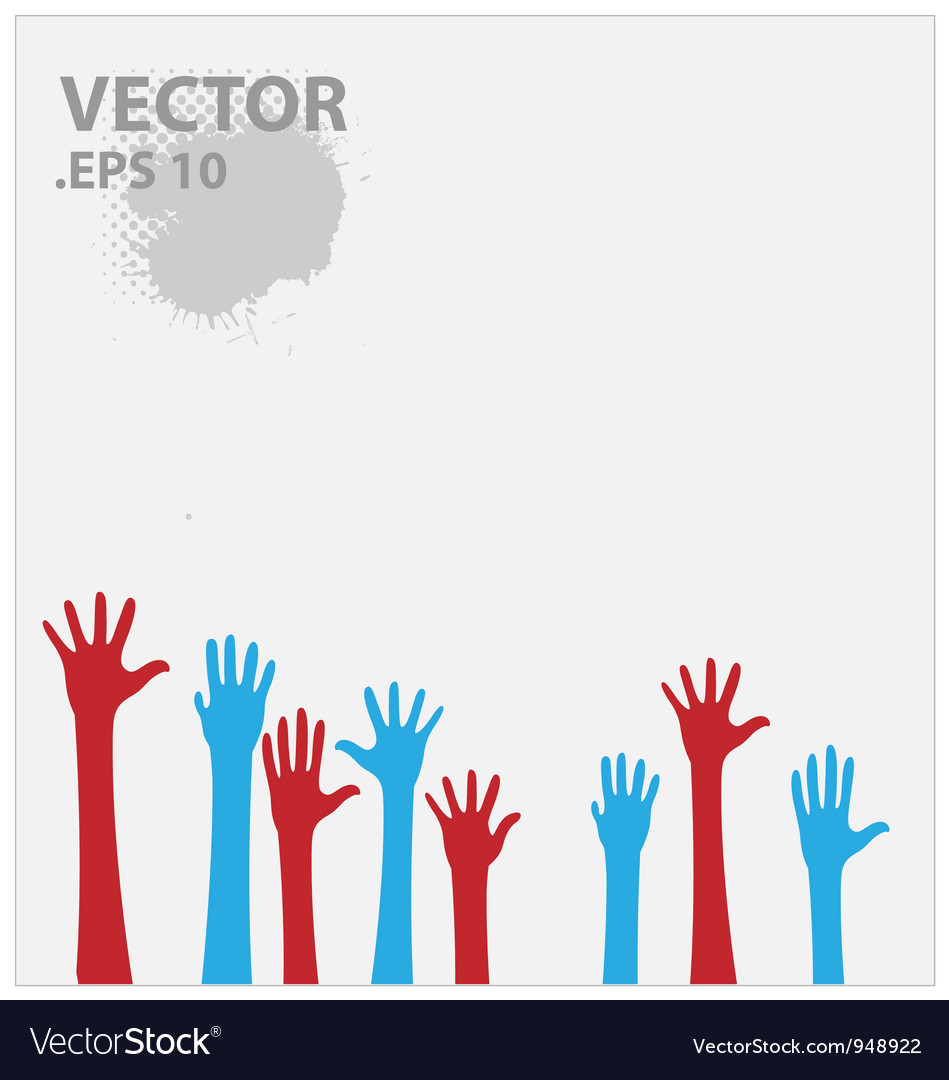 Blue and red hands vector | Price: 1 Credit (USD $1)