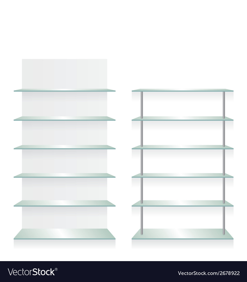 Empty shop glass shelves vector | Price: 1 Credit (USD $1)