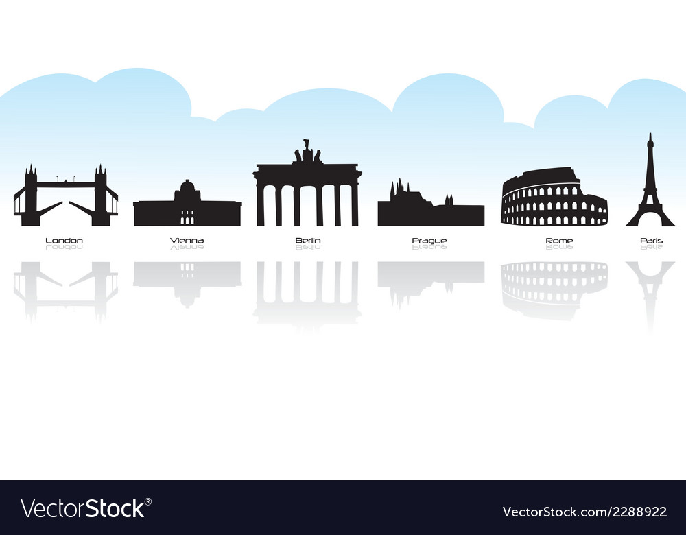 European landmark icons vector | Price: 1 Credit (USD $1)