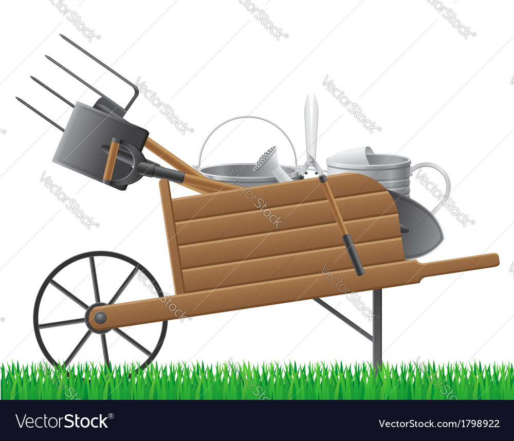 Garden wheelbarrow with tool vector | Price: 1 Credit (USD $1)