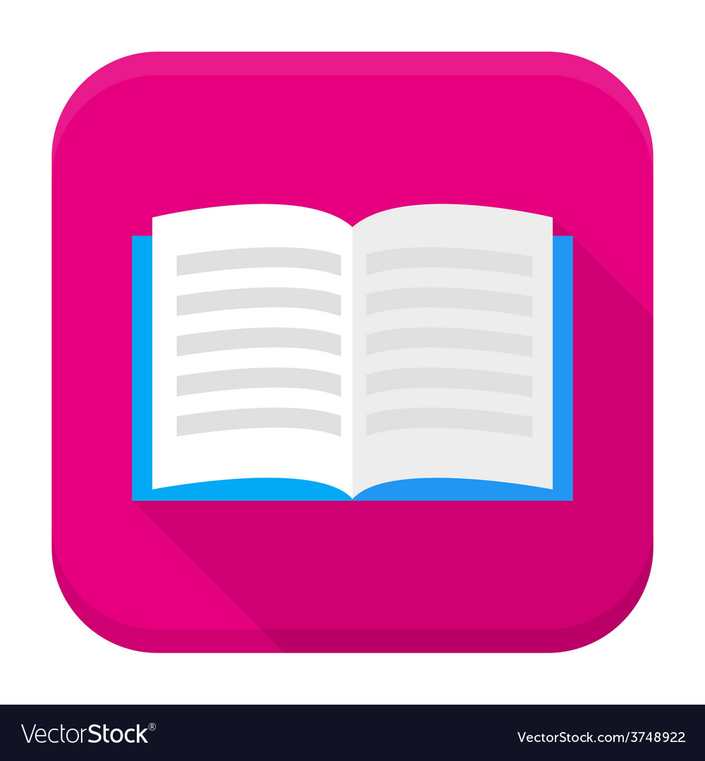Open book app icon with long shadow vector | Price: 1 Credit (USD $1)
