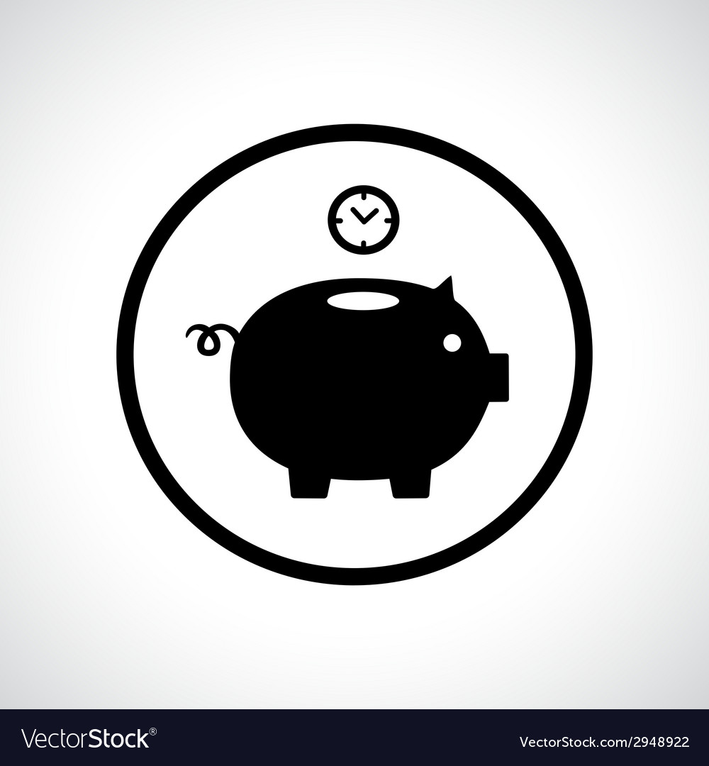 Piggy bank icon with a clock falling in vector | Price: 1 Credit (USD $1)