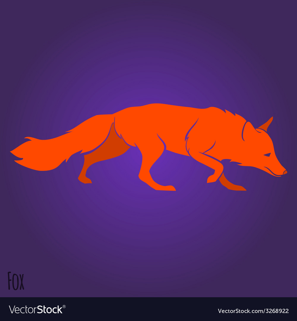 Red running fox silhouette vector | Price: 1 Credit (USD $1)