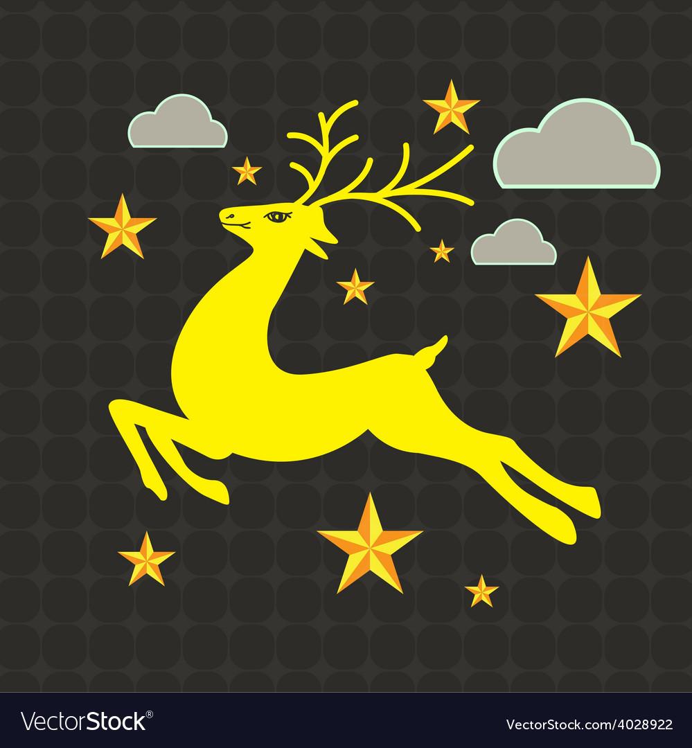 Reindeer on grunge background vector | Price: 1 Credit (USD $1)