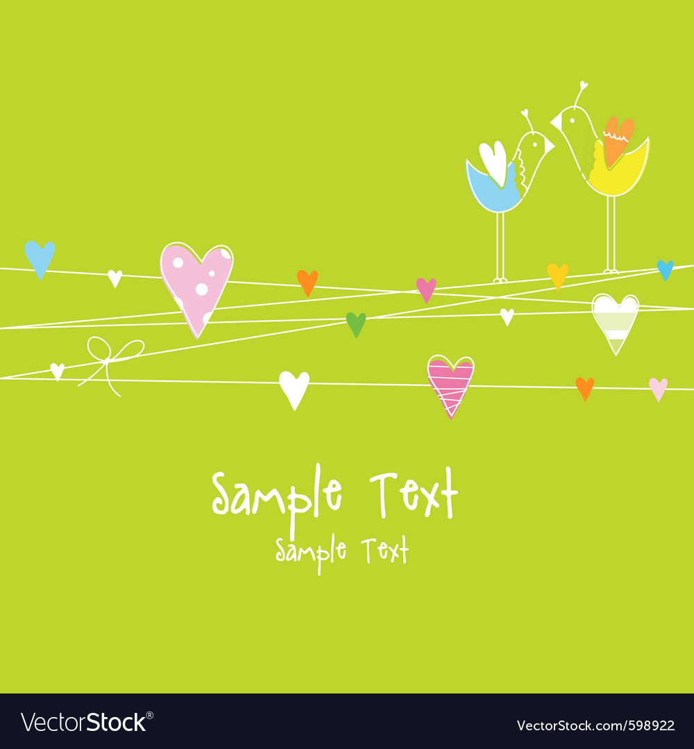 Romantic love card with birds and hearts vector | Price: 1 Credit (USD $1)