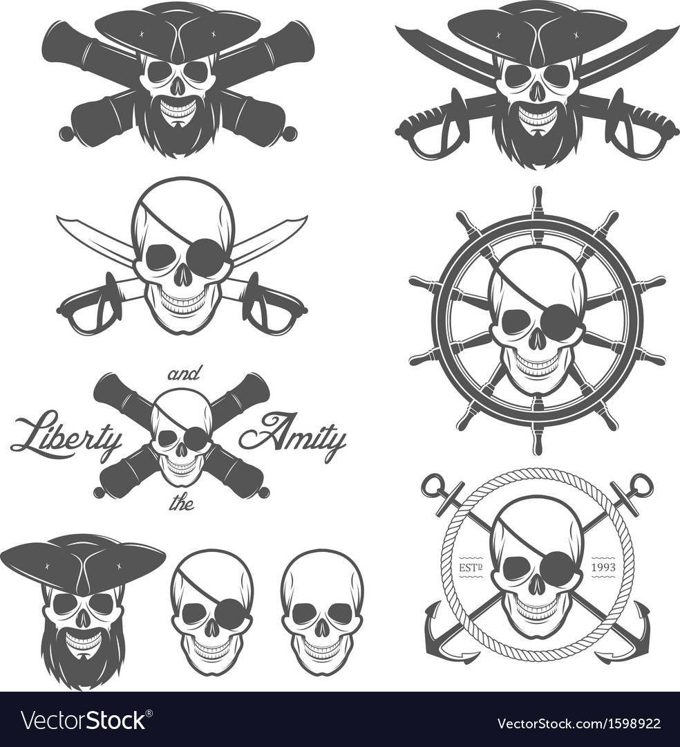 Set of pirate themed design elements vector | Price: 1 Credit (USD $1)