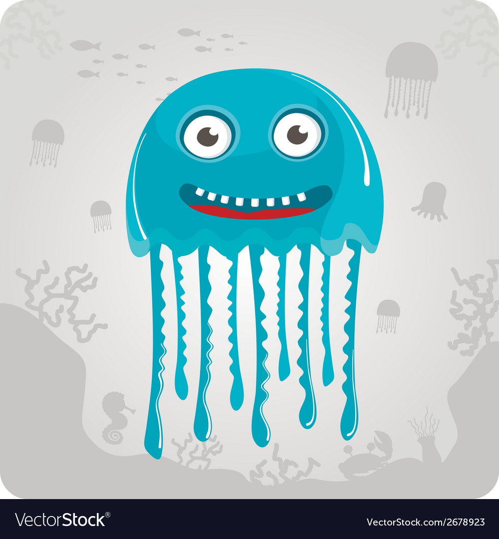 Cute cartoon jellyfish vector | Price: 1 Credit (USD $1)