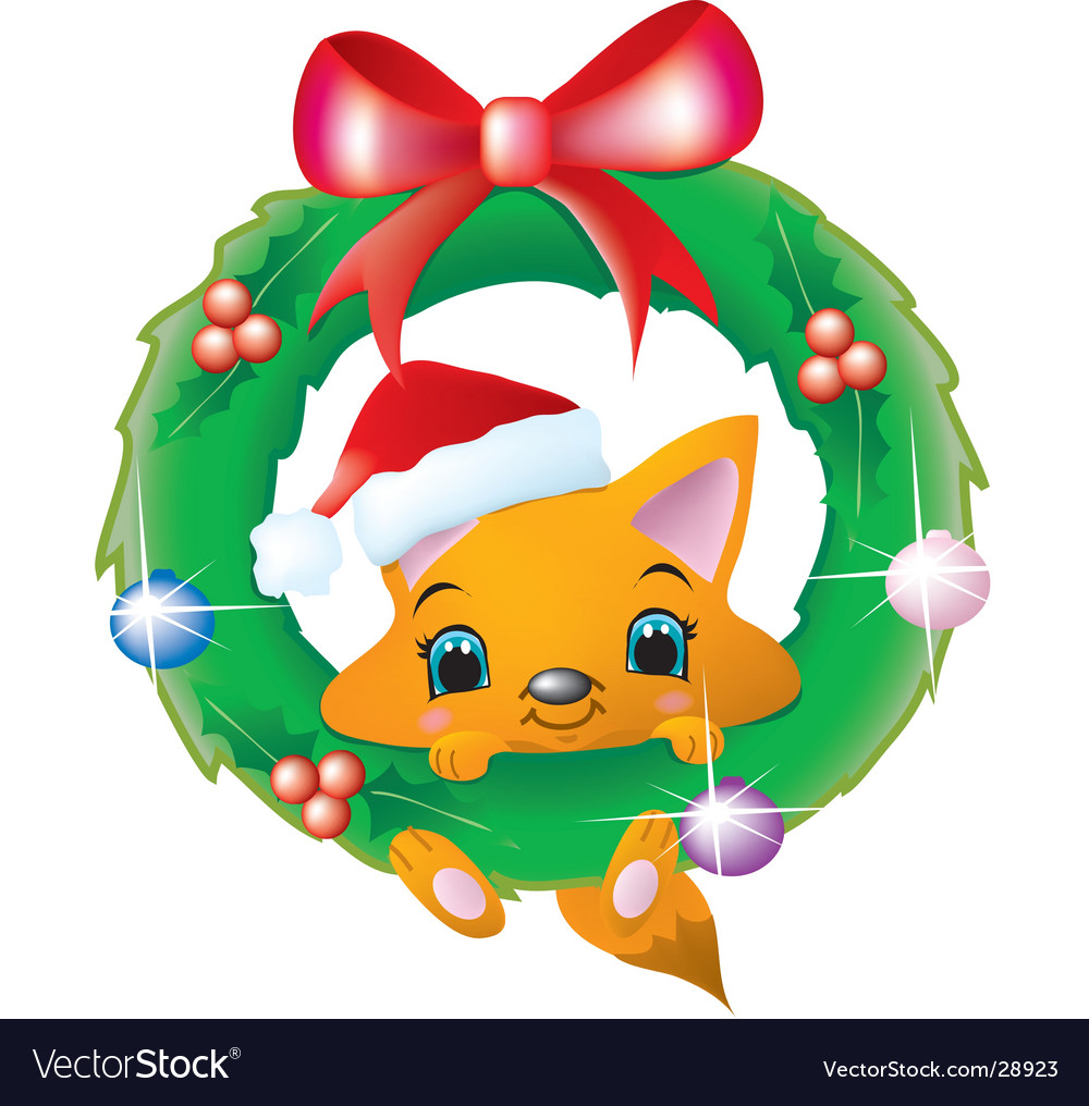 Fox in a christmas wreath vector | Price:  Credit (USD $)