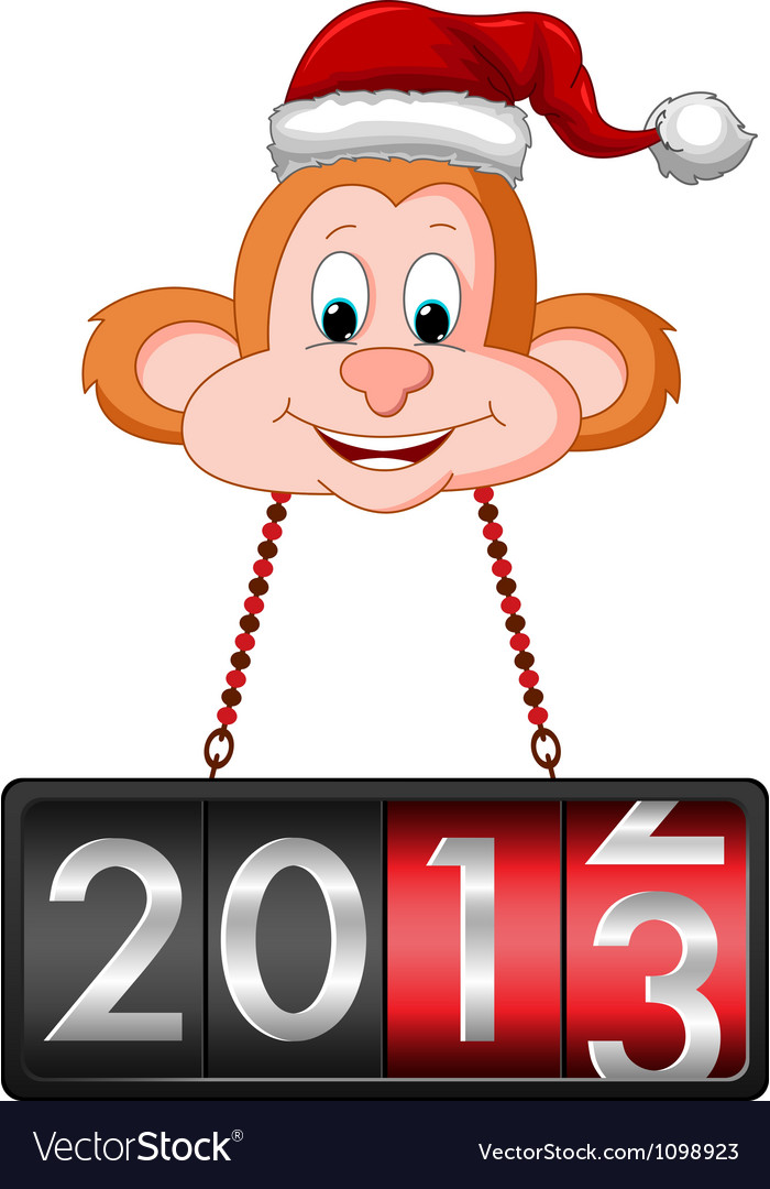 Monkey hanging 2013 countdown tag vector | Price: 1 Credit (USD $1)