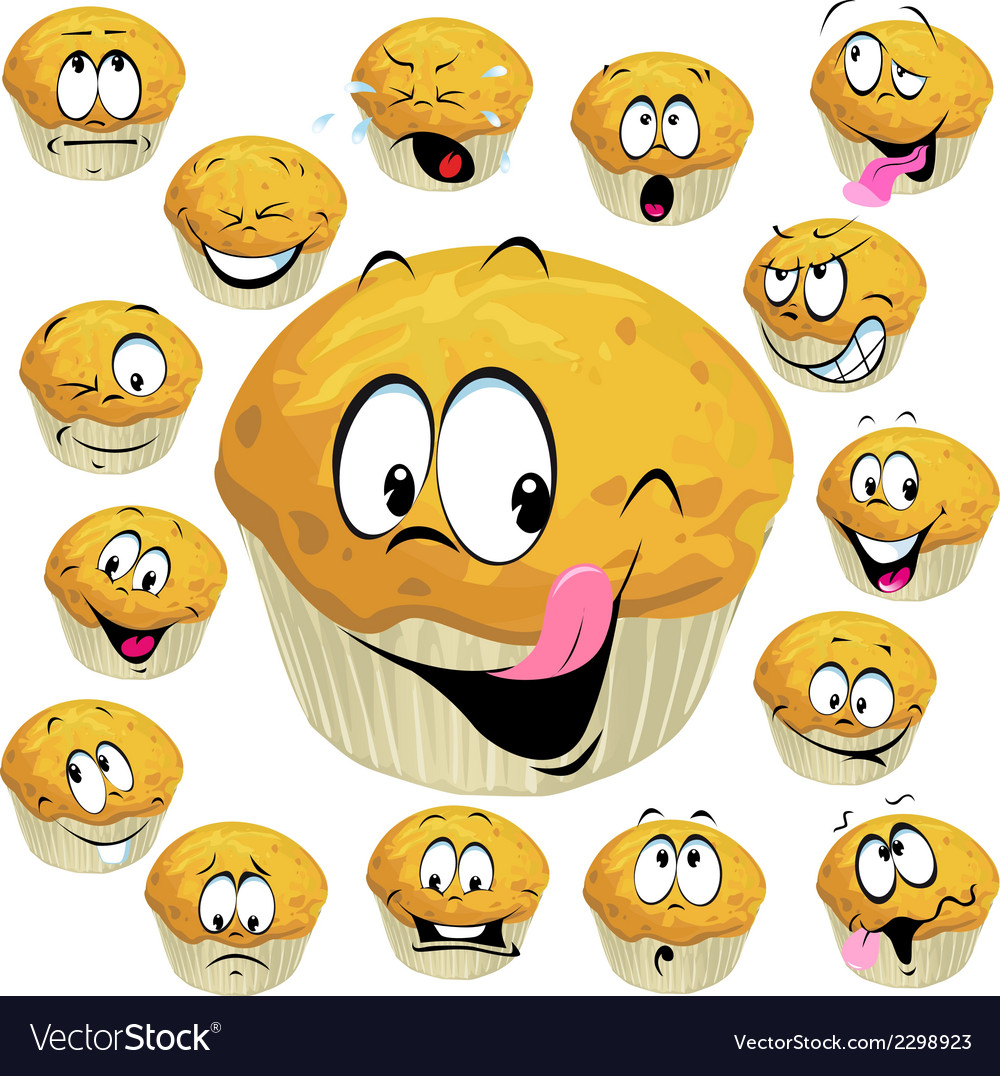 Muffin cartoon with many expression isolated on vector | Price: 1 Credit (USD $1)