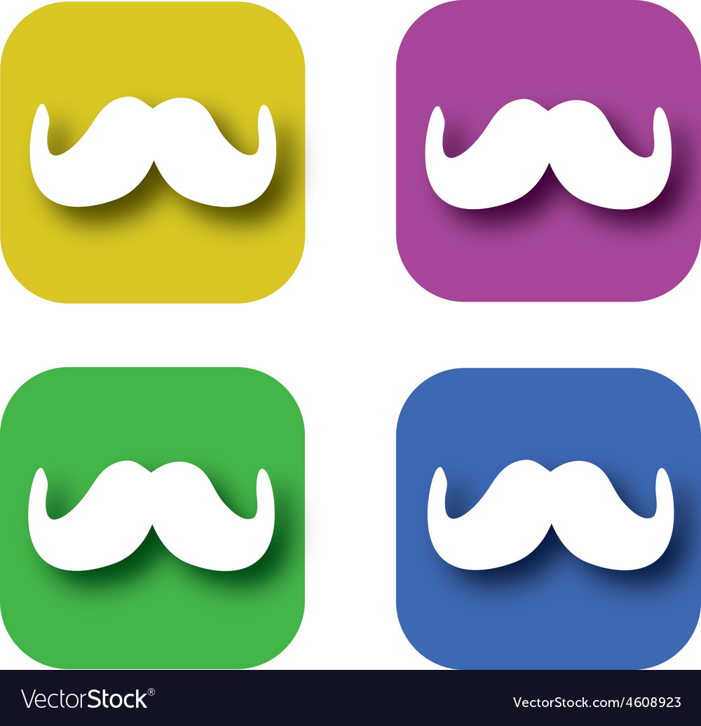 Mustache mobile application icon vector | Price: 1 Credit (USD $1)