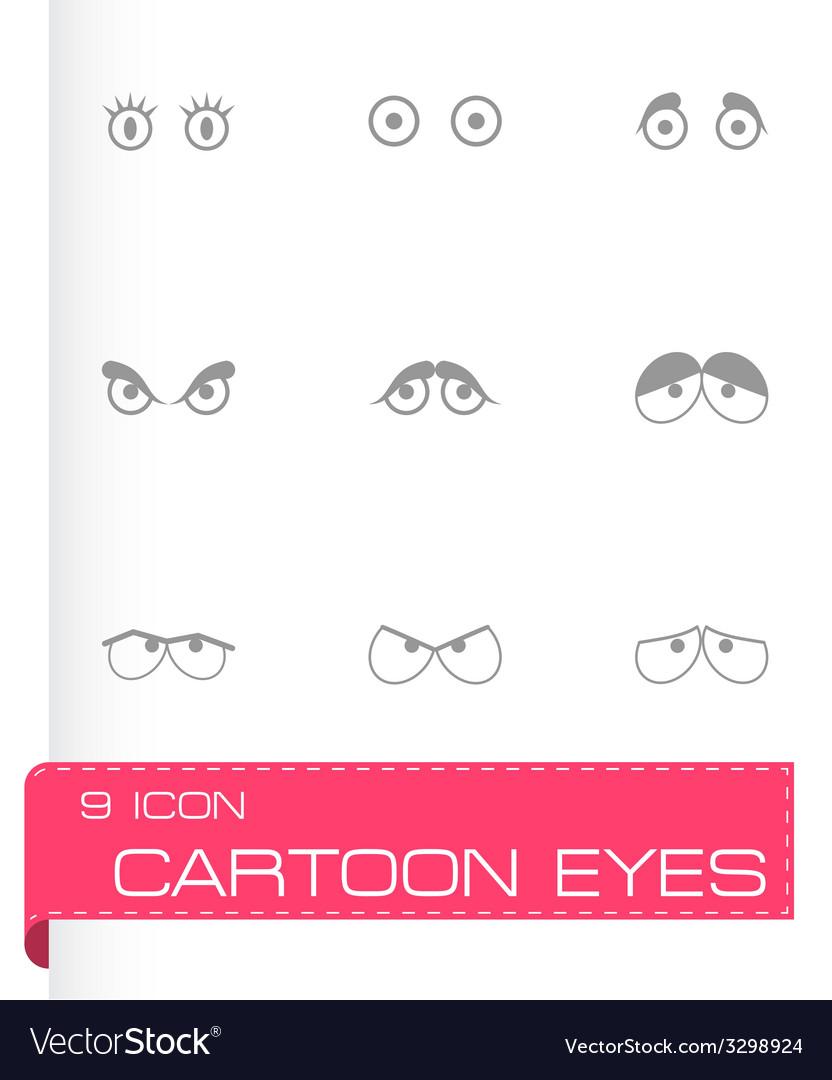 Black cartoon eyes icons set vector   Price: 1 Credit (USD $1)