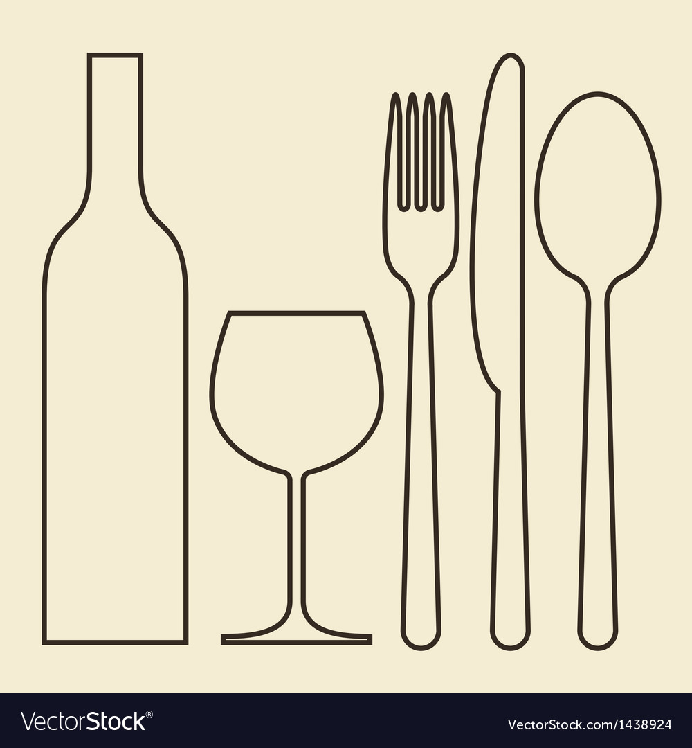 Bottle wineglass fork knife and spoon vector | Price: 1 Credit (USD $1)