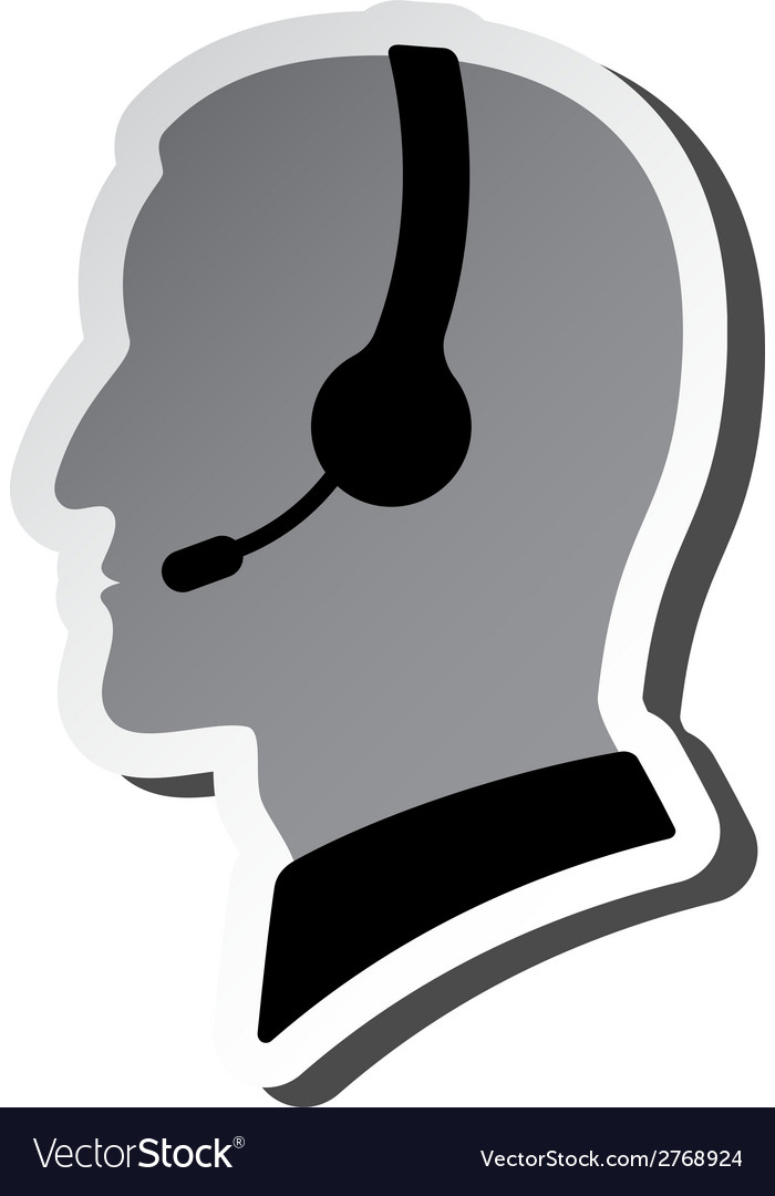 Call center person silhouette vector | Price: 1 Credit (USD $1)