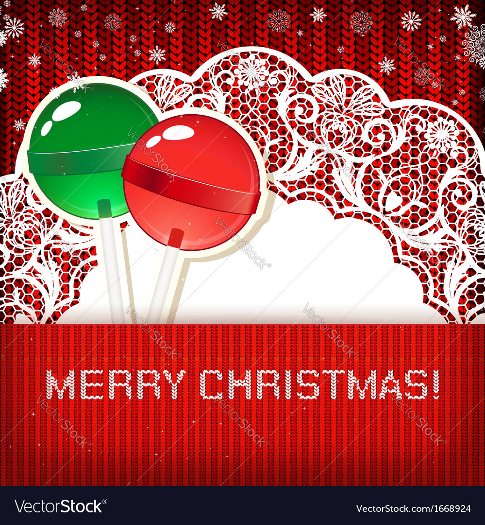 Christmas decorations on handmade knitted vector   Price: 1 Credit (USD $1)