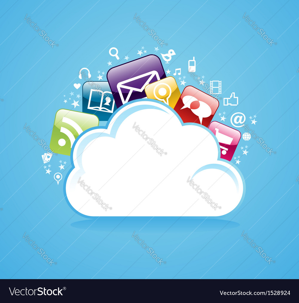 Cloud storage glossy app icons vector | Price: 1 Credit (USD $1)