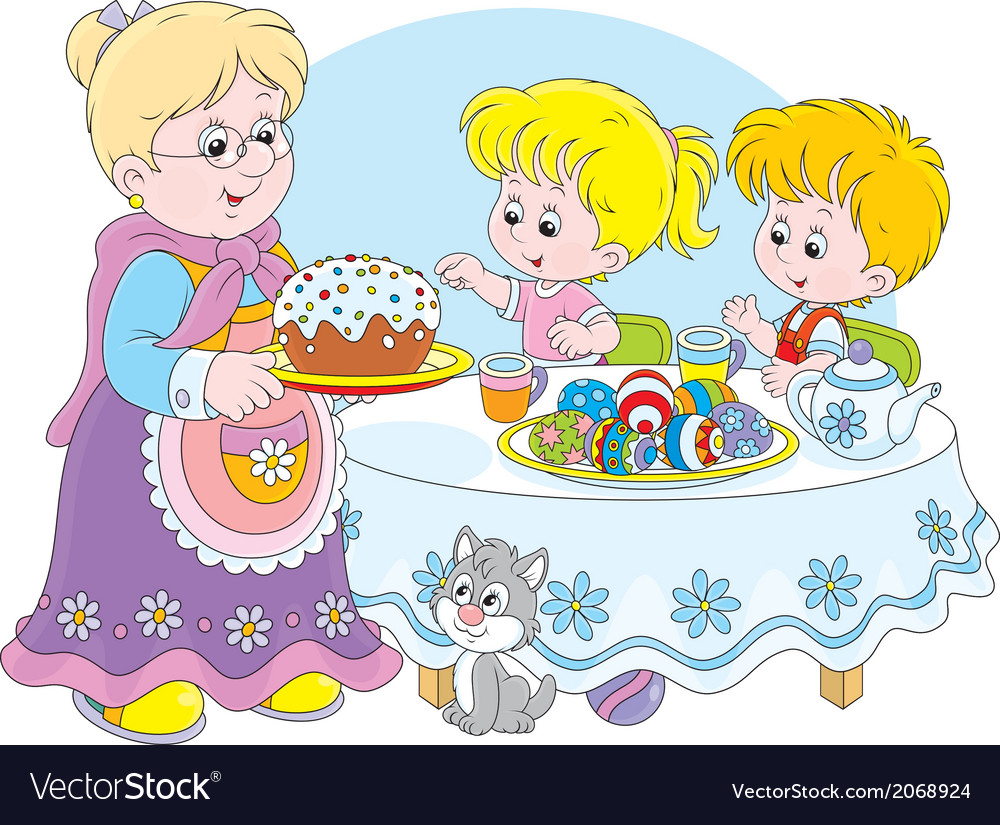 Granny and grandchildren celebrate easter vector | Price: 1 Credit (USD $1)