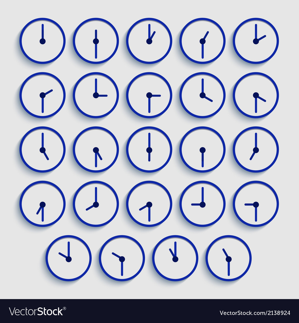 Modern flat time icons set vector | Price: 1 Credit (USD $1)