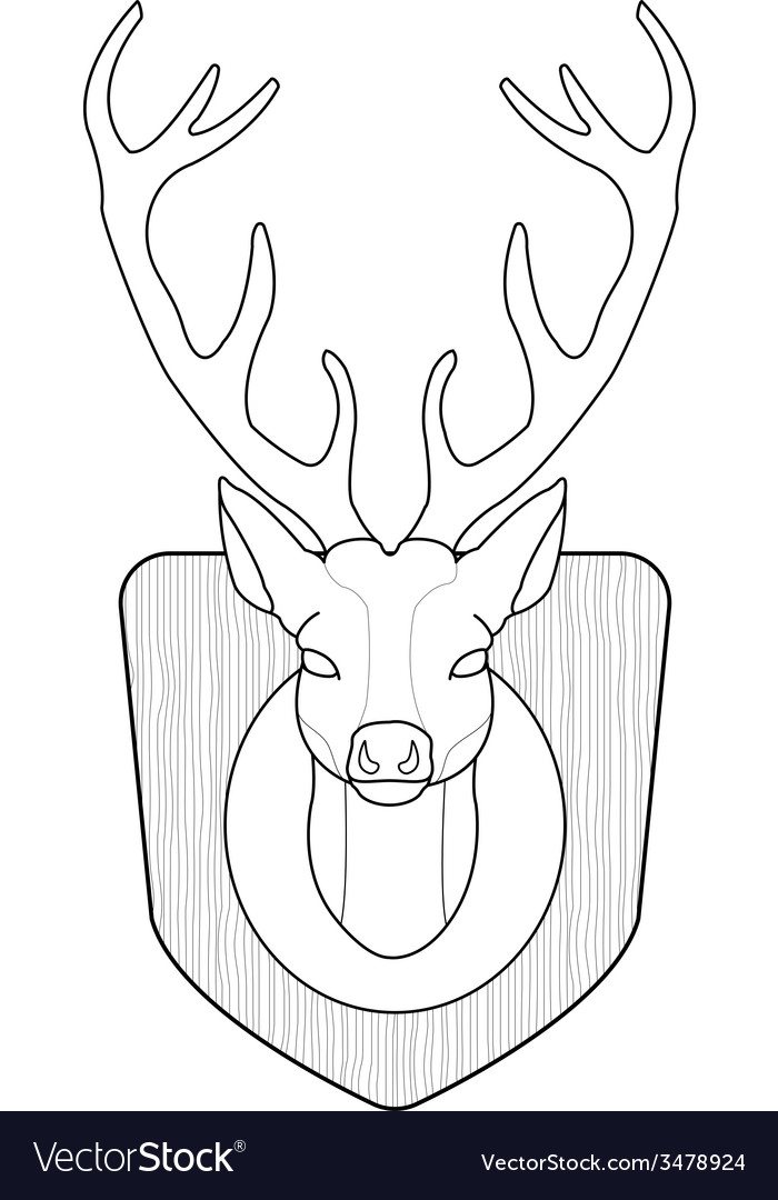 Stuffed taxidermy deer head line-art vector | Price: 1 Credit (USD $1)