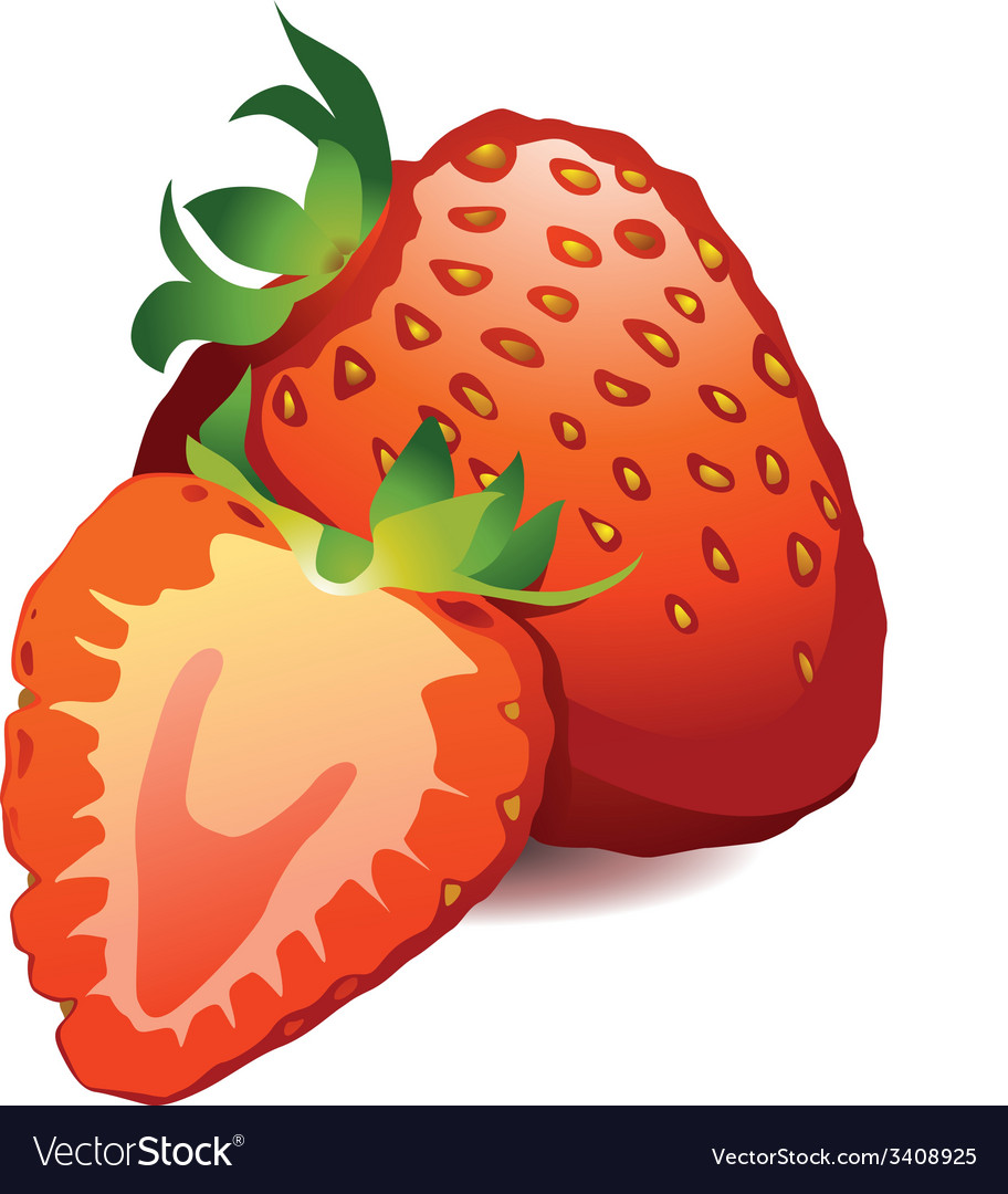 A beautiful ripe red fresh strawberry isolated on vector | Price: 1 Credit (USD $1)