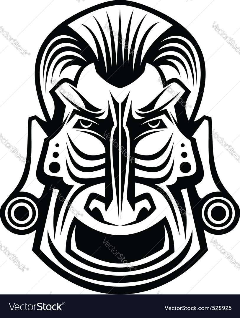 Ancient tribal religious mask isolated on white vector | Price: 1 Credit (USD $1)