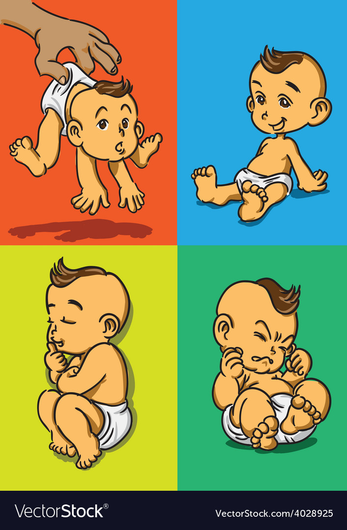 Baby with 4 actions vector   Price: 3 Credit (USD $3)