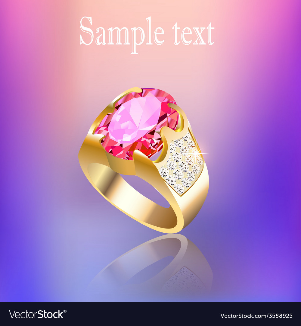 Background with gold ring gem vector | Price: 1 Credit (USD $1)