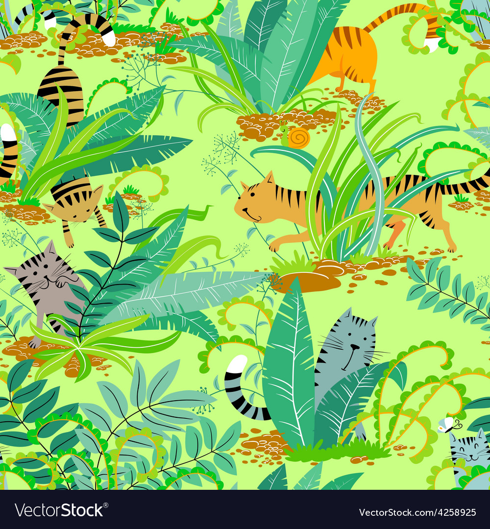 Cats in the grass vector | Price: 1 Credit (USD $1)