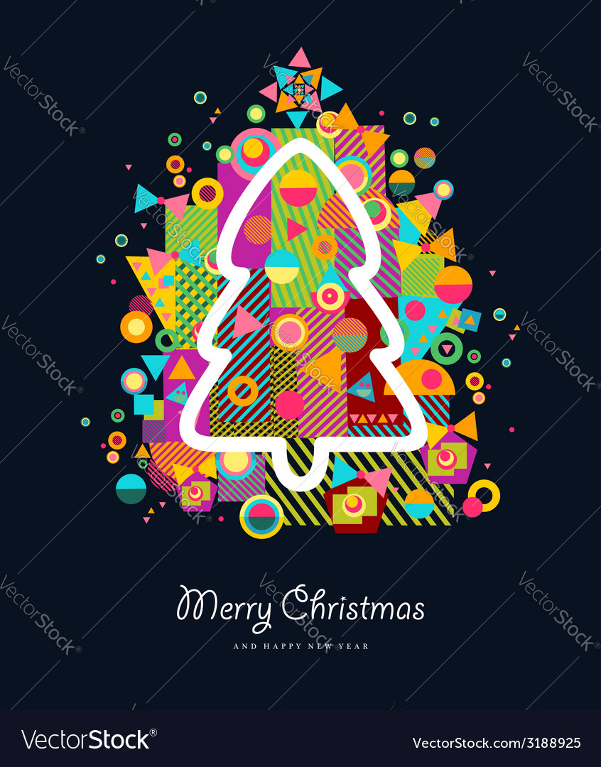Christmas tree colorful retro greeting card vector | Price: 1 Credit (USD $1)