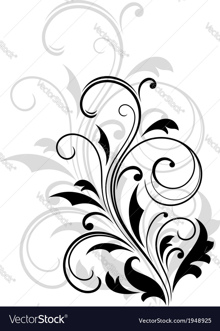 Dainty scrolling black and white floral element vector | Price: 1 Credit (USD $1)
