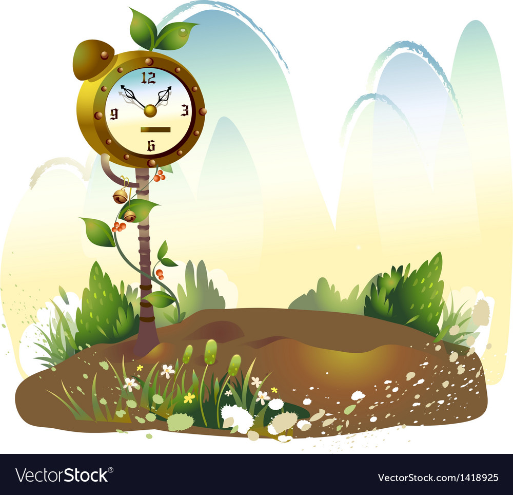 Floral clock background vector   Price: 1 Credit (USD $1)