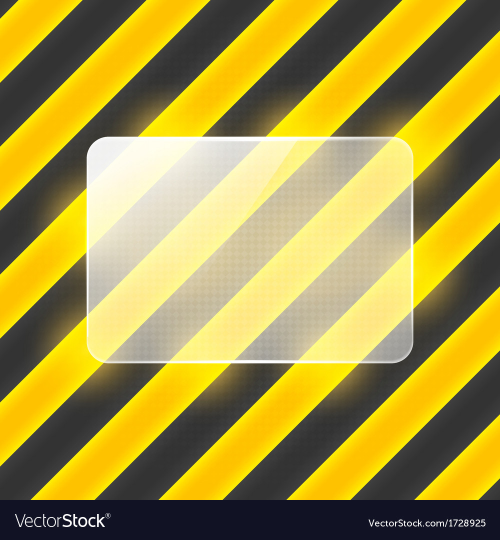 Glass banner on black and yellow stripes vector | Price: 1 Credit (USD $1)