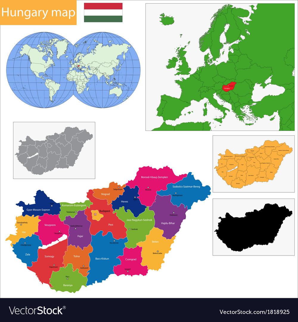 Hungary map vector | Price: 1 Credit (USD $1)