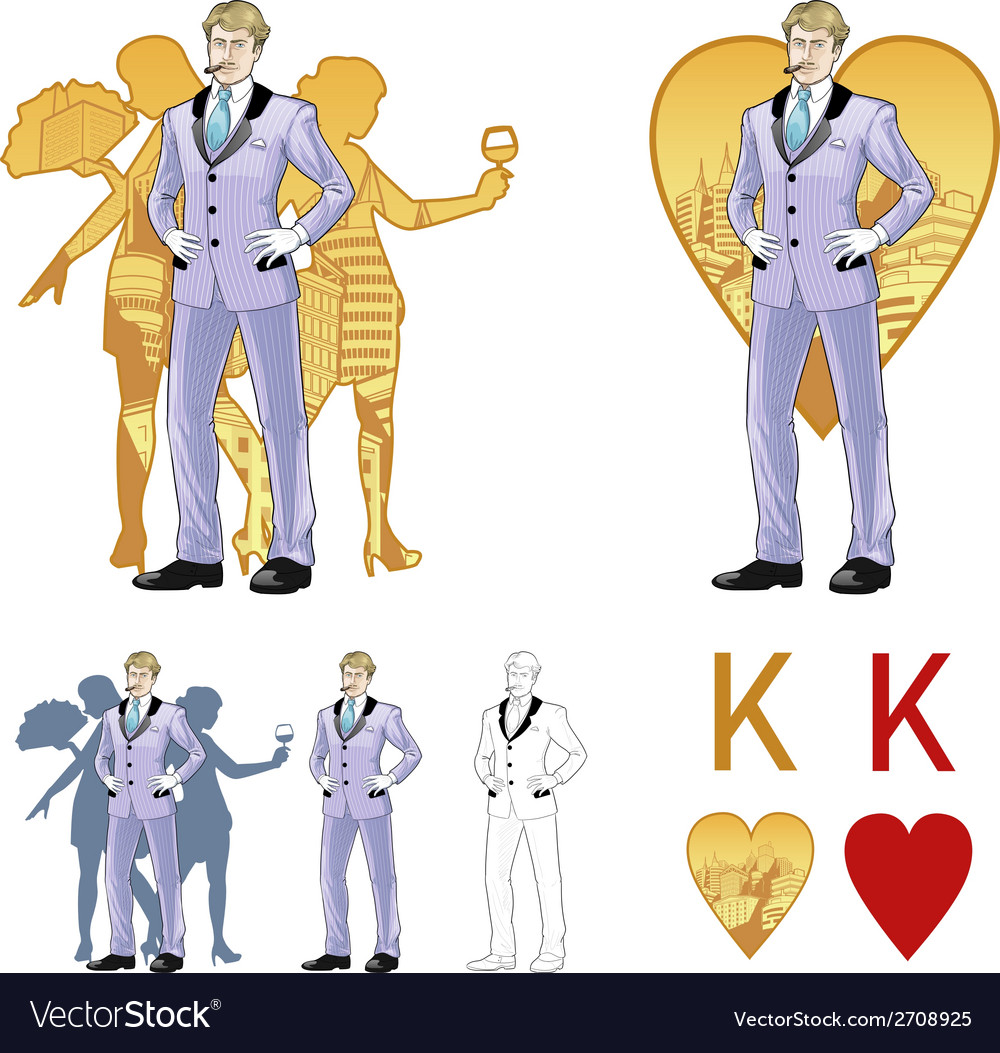 King of hearts attractive caucasian man with corps vector | Price: 1 Credit (USD $1)