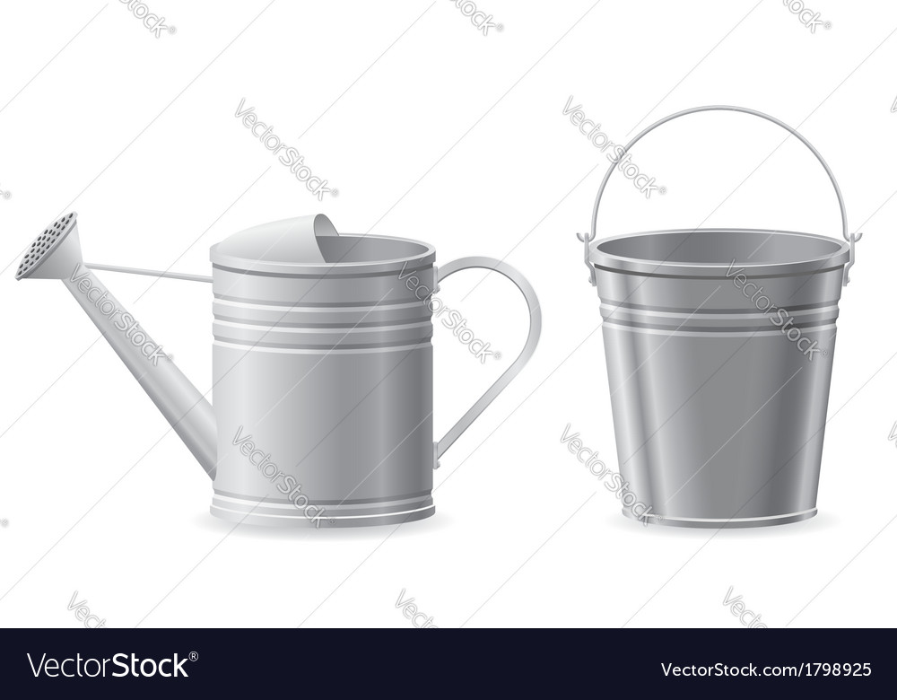 Metal bucket and watering can vector | Price: 1 Credit (USD $1)
