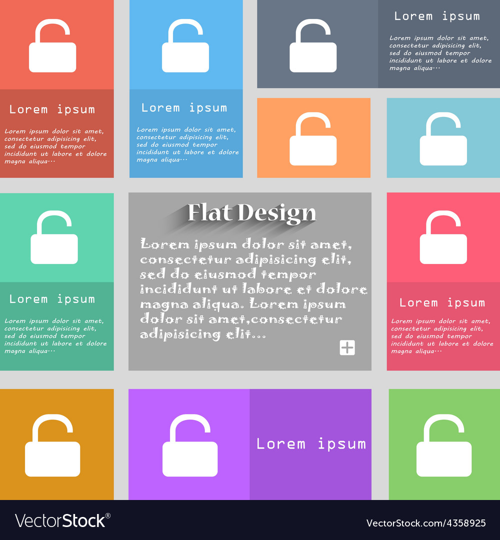 Open padlock icon sign set of multicolored buttons vector | Price: 1 Credit (USD $1)