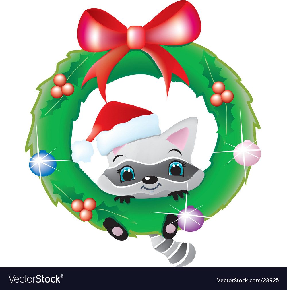 Raccoon in a christmas wreath vector | Price:  Credit (USD $)