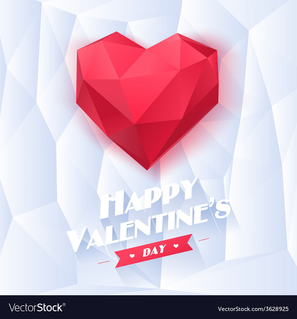 Red origami heart on white background with shadow vector | Price: 1 Credit (USD $1)
