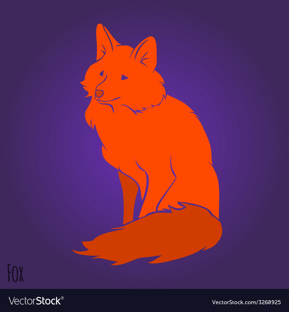 Red sitting fox silhouette vector | Price: 1 Credit (USD $1)